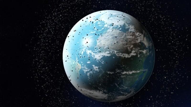 Simulación de la basura espacial alrededor de la Tierra