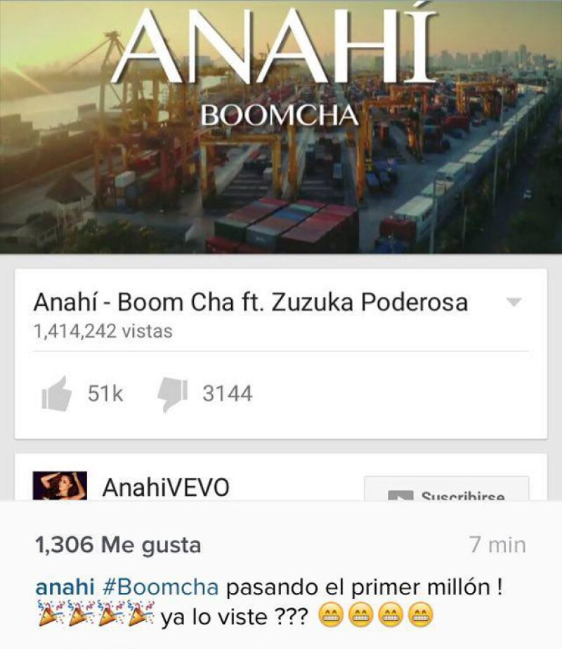 Anahí compartió la alegría del éxito que ha tenido su video en Youtube.