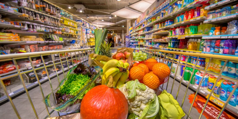 Healthy Fruit and vegetables in Grocery shop cart
