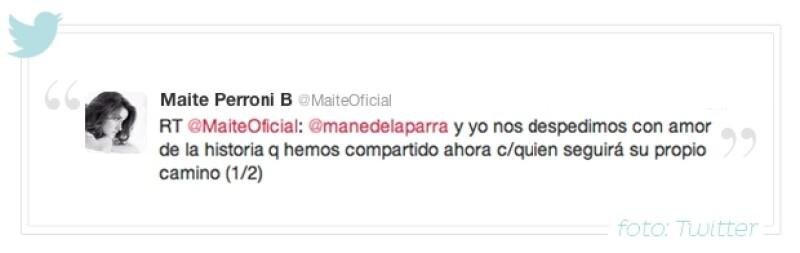 Maite Perroni dio la noticia por Twitter.