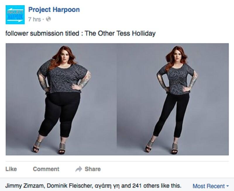La famosa modelo con sobrepeso Tess Holliday, no podía faltar entre sus imagens que han pasado por Photoshop.