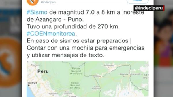 Un sismo de magnitud 7.1 estremece a Perú esta mañana