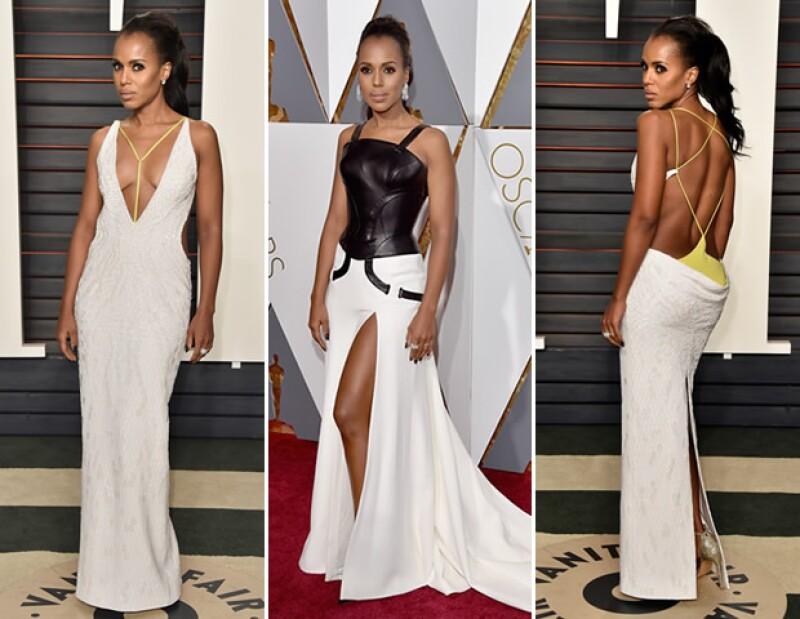 El vestido Versace que Kerry Washington llevó a los Oscar no le favoerció tanto como el del after-party de la misma firma.