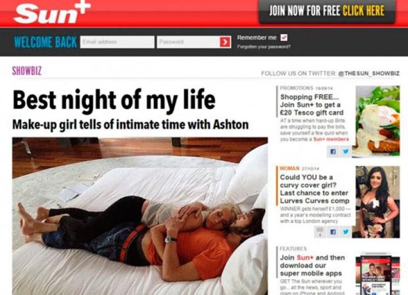 Una maquillista sueca declaró a The Sun que pasó una noche con el actor en junio de 2012, cuando ya había iniciado su romance con Kunis.