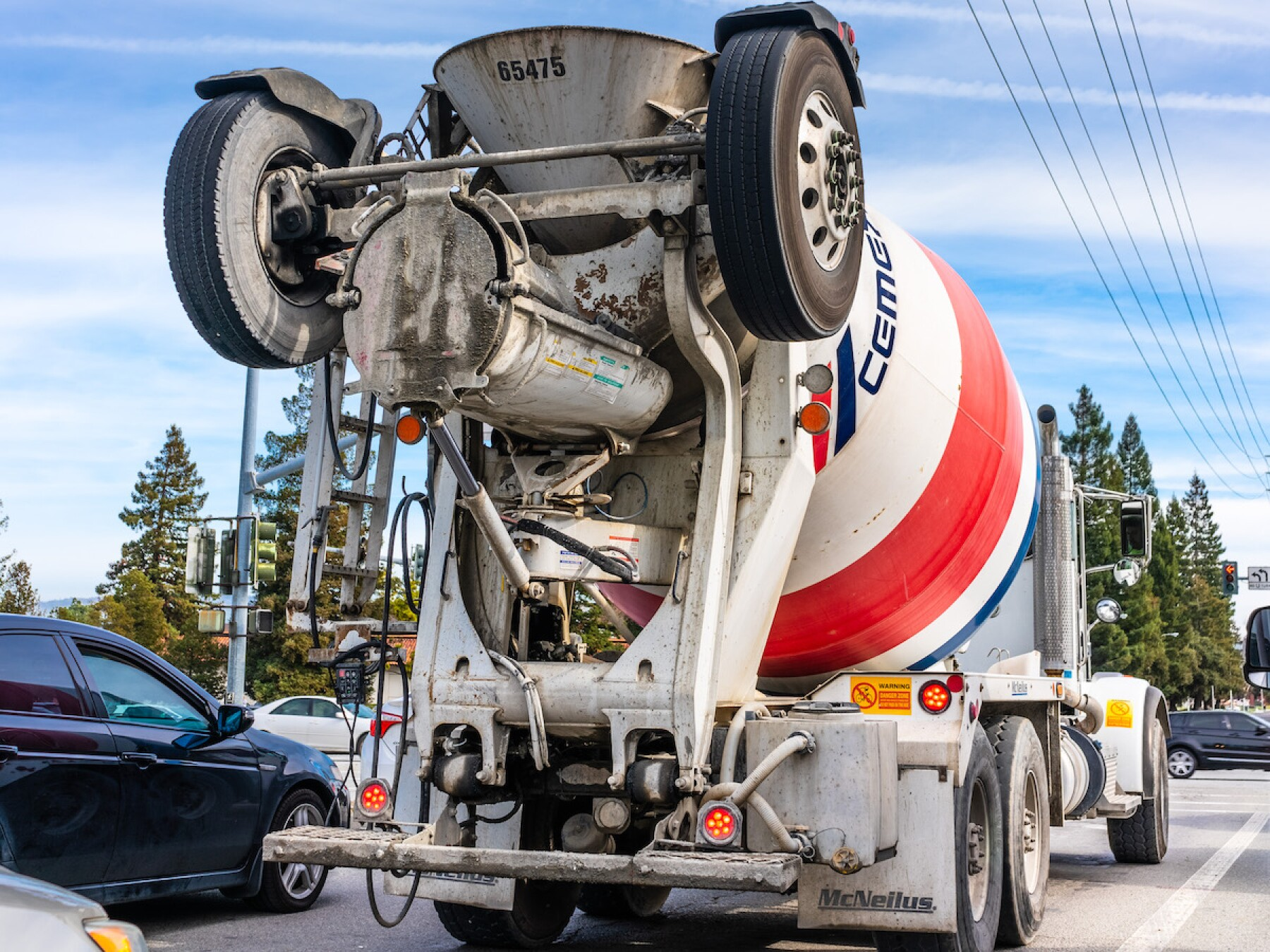 Cemex mixer truck transporting cement to the construction site