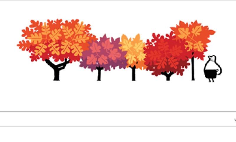 El doodle muestra la caída de las hojas de los árboles que sucede en esta época. (Foto: tomada de google.com)