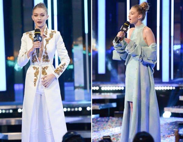 La stylist Monica Rose creó dos looks con capas: el primero de Elisabetta Franchi  y el segundo de August Getty Atelier.