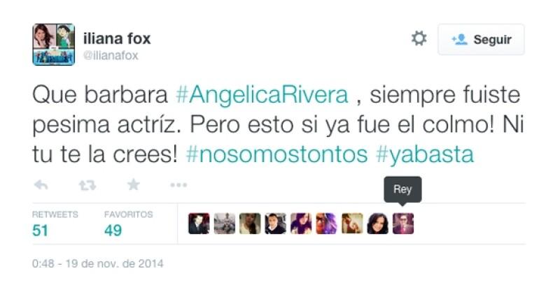 Iliana Fox compartió su opinión sobre el trabajo de Angélica Rivera como actriz.