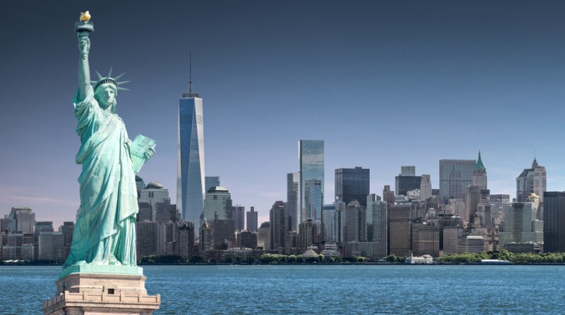 The Statue of Liberty with One World Trade Center background, Landmarks of New York City