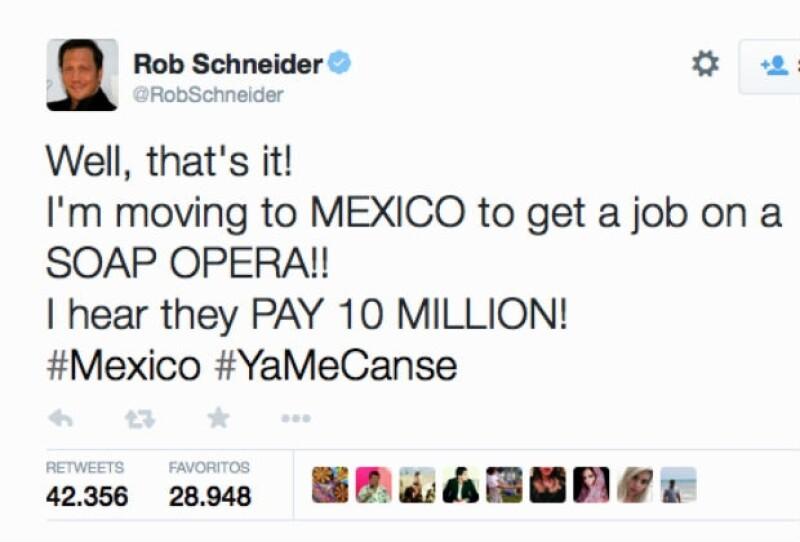 El actor estadounidense utilizó su cuenta de Twitter para hacer referencia, muy a su estilo, al video en donde la primera dama de México justifica sus ganancias.