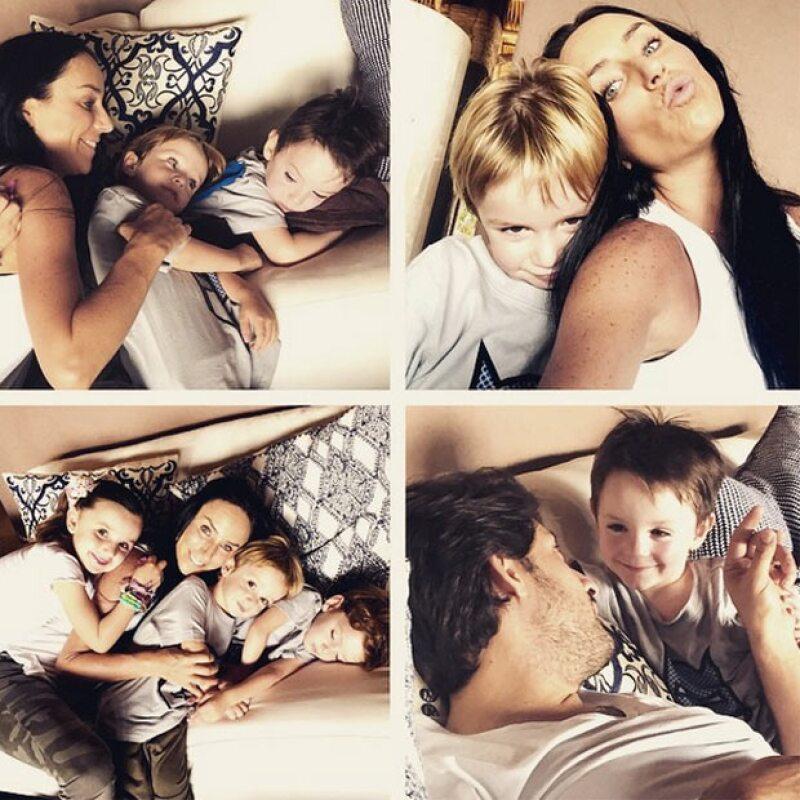 La conductora comparte en sus redes sociales lo bien que su esposo se lleva con sus cinco hijos.