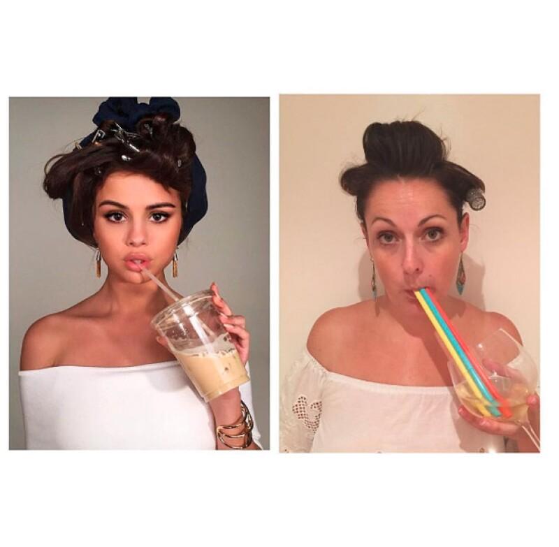 Celeste comenzó desde hace unos meses a publicar fotografías en las que imita y se burla de las celebridades.