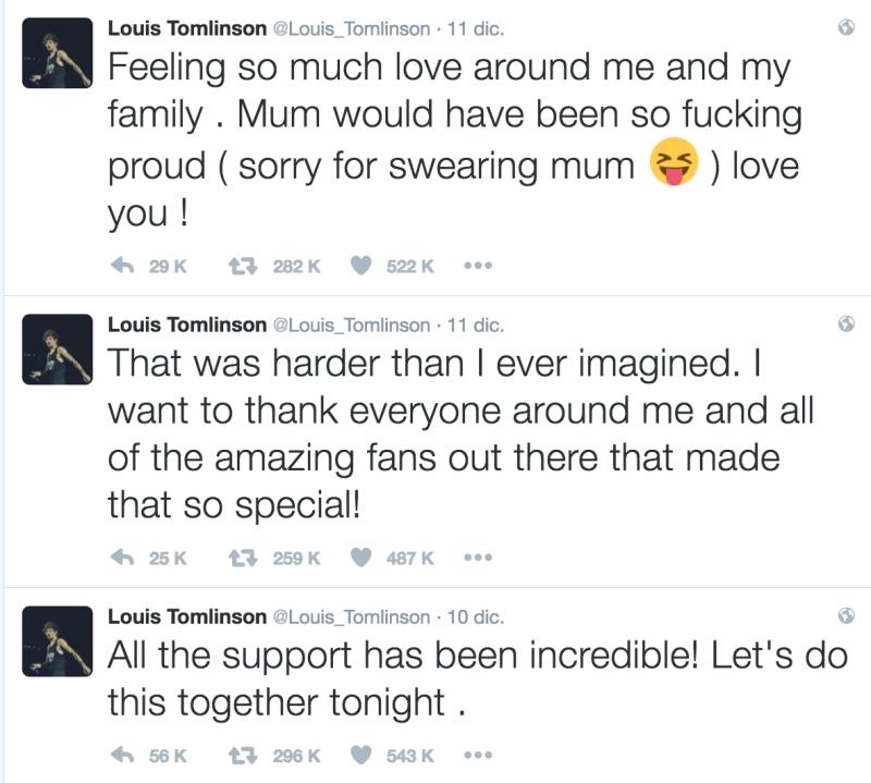 Louis Tomlinson agradece en Twitter por apoyo