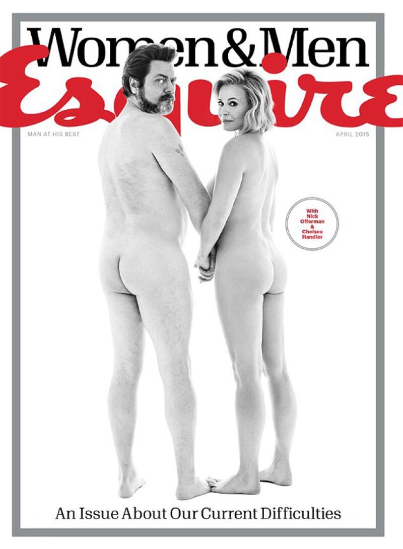 La comediante posó desnuda de la mano del actor Nick Offerman para Esquire, imitando una portada de Rolling Stone de los años 60 que hicieron famoso a John Lennon y a su pareja.
