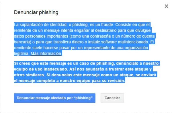 Notificación para denunciar phishing