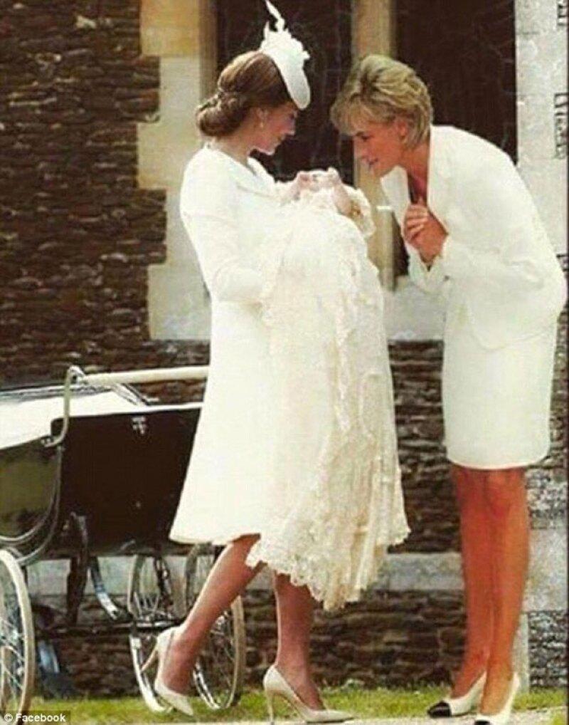 Una imagen que ha circulado por las redes sociales se volvió viral luego de que en ella se mostrara el bautizo de la hija de los duques de Cambridge con un miembro muy especial presente: su abuela.