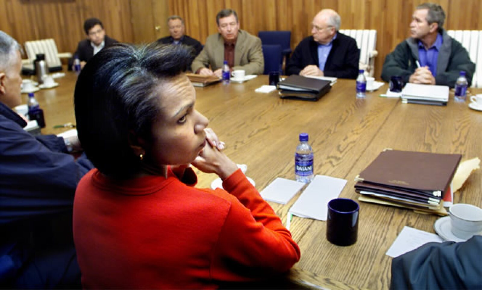 Condolezza Rice, asesora de seguridad nacional de Estados Unidos en ese momento, apoyó al presidente Bush en las horas subsecuentes al ataque a las Torres Gemelas.