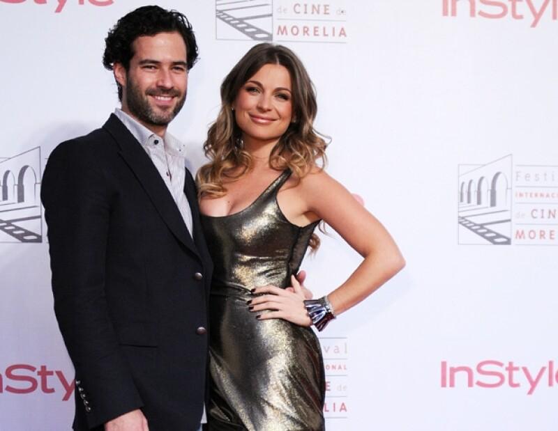 Ludwika y Emiliano durante la alfombra roja del Festival Internacional de Cine de Morelia.