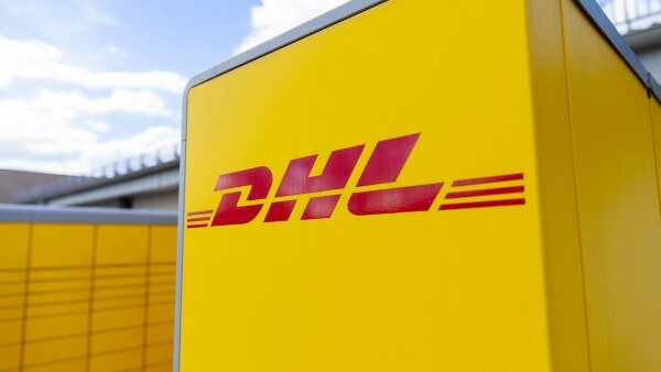 DHL Packstation stands on a street in Nuremberg.