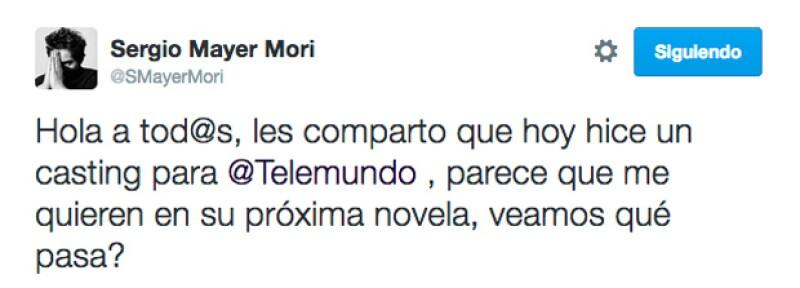 Este es el tuit en el que Sergio Mayer Mori compartió su emoción por actuar.