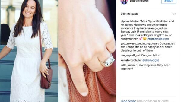 La hermana de Kate Middleton luce una joya de cuatro quilates, cuyo valor ronda los 4 millones de pesos.
