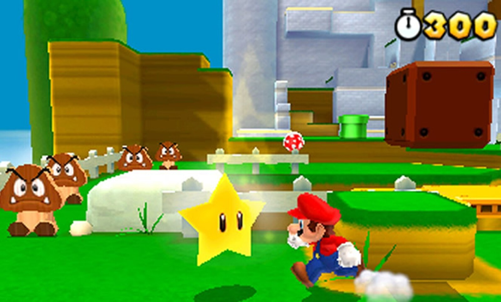 Una nueva aventura de Mario llega ahora para la consola portátil de tercera dimensión de Nintendo: los personajes clásicos divierten en este juego de plataforma, junto con nuevos enemigos y poderes.