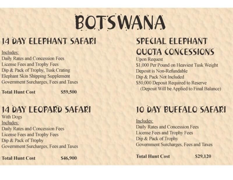 Precios del Safari.