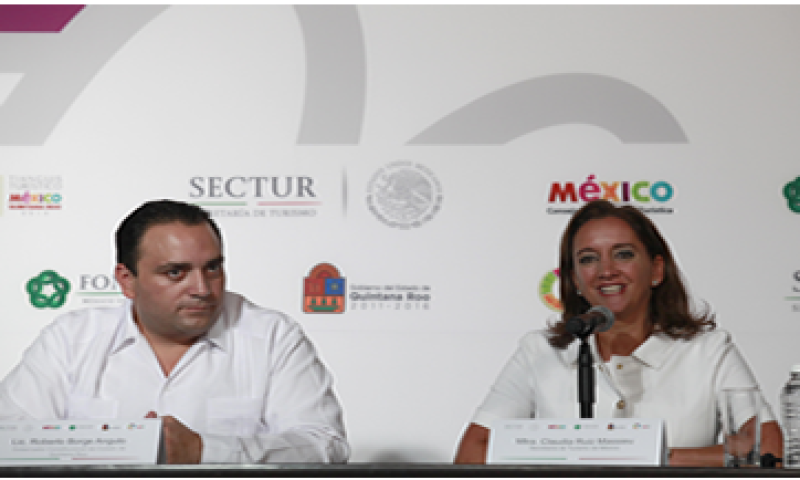 Claudia Ruiz Massieu, titular de turismo, presidió la ceremonia de pase de estafete de Cancún a Acapulco. (Foto: Cortesía Sectur)