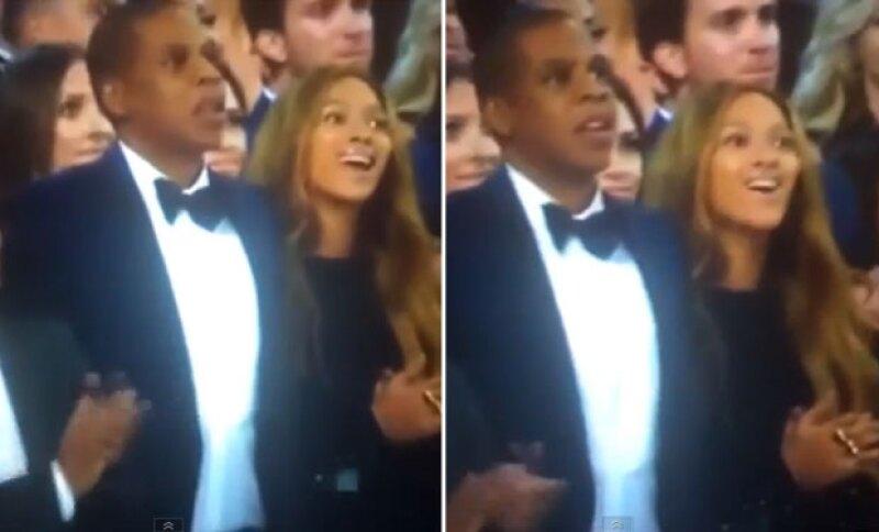 Jay-Z y Beyoncé no pudieron ocultar su reacción.