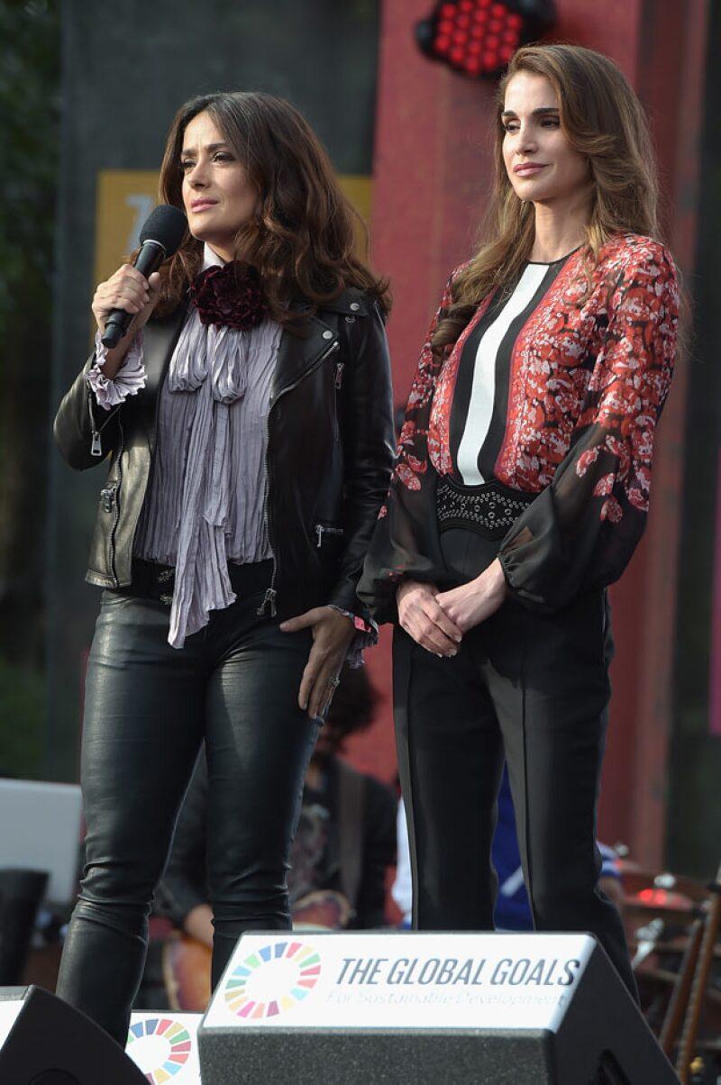 La veracruzana en el Global Citizen Festival con la reina Rania de Jordania, dando un discurso para acabar con la pobreza extrema.