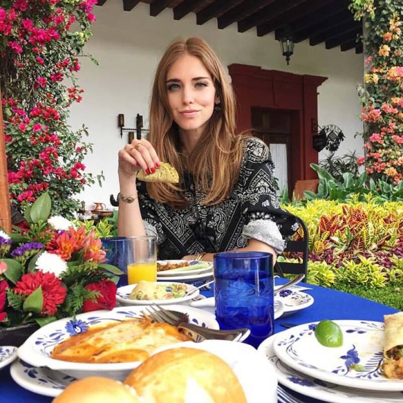 Chiara también aprovechó para probar uno de los platillos típicos mexicanos: los tacos.