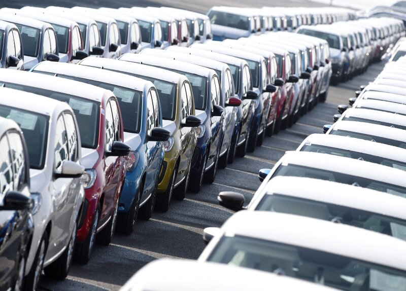 FILE PHOTO: Volkswagen export cars are seen in the port of Emden