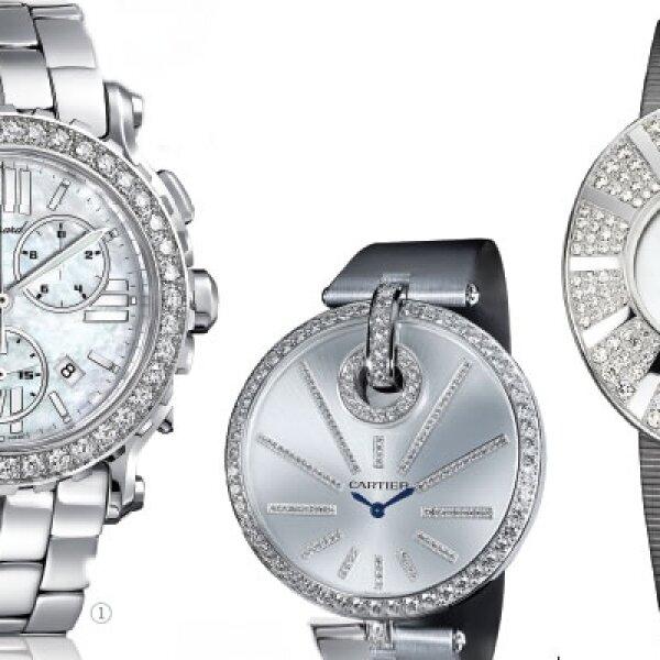 Entre 290 y 340 diamantes puede tener uno de estos relojes. Son el Happy Sport Chrono, de Chopard; el Cartier Captive y el Tarry to me Harry Einston.