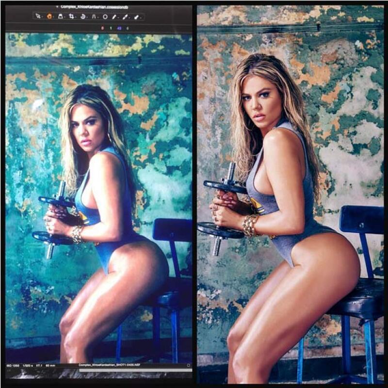 Asimismo, la hermana de Kim respondió a todas las críticas por su cuerpo a través de Instagram, mostrando la foto original y la otra con retoque.