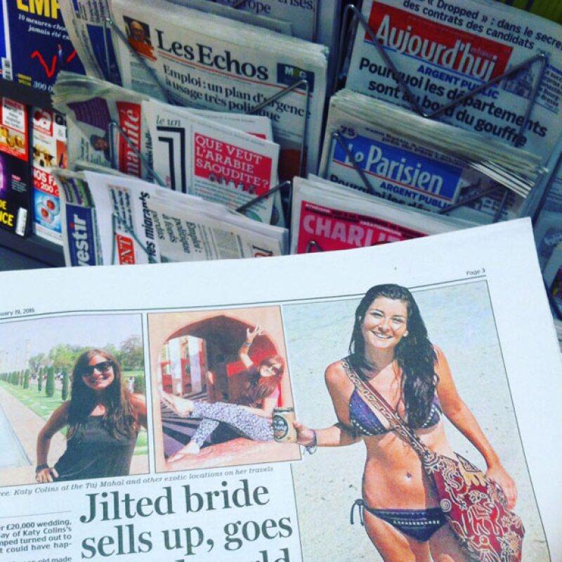 Katy Collins se hizo famosa en enero de 2015, apareciendo en portadas de periódicos en varias partes del mundo.